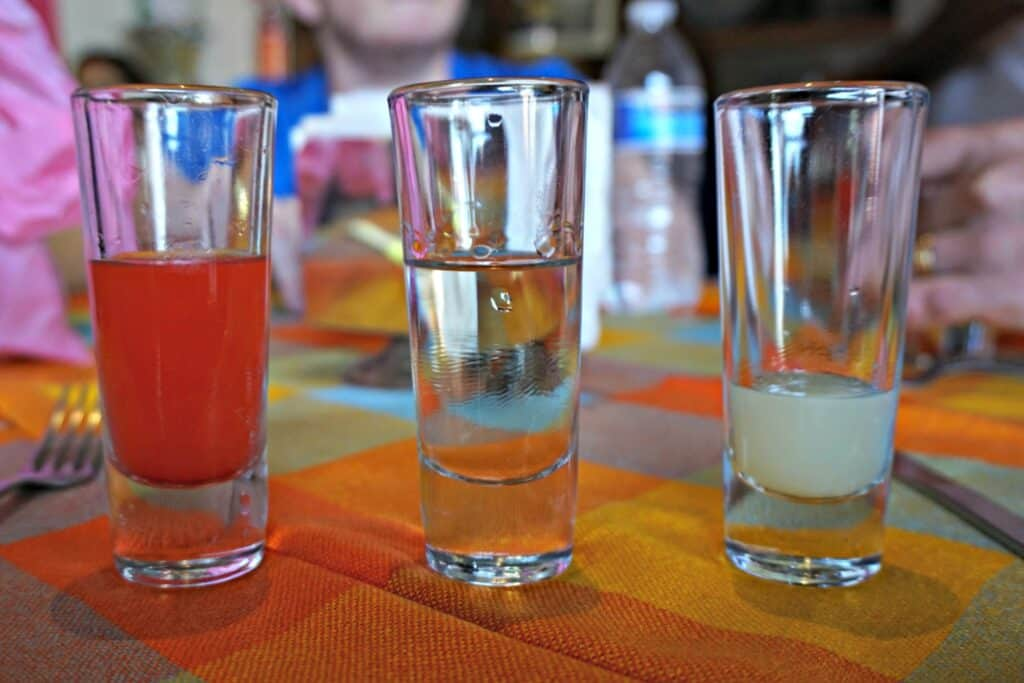 trio of tequila shots