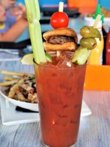Bloody Mary with small hamburger