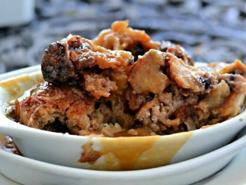 bread pudding in a bowl