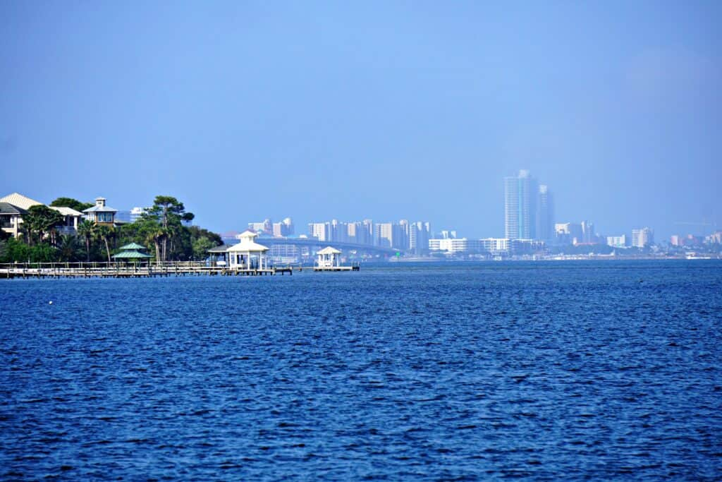 view of Gulf Shores from the water