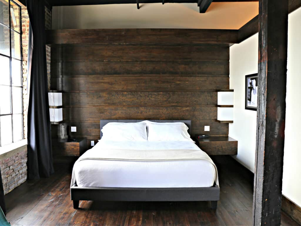bed in a rustic room