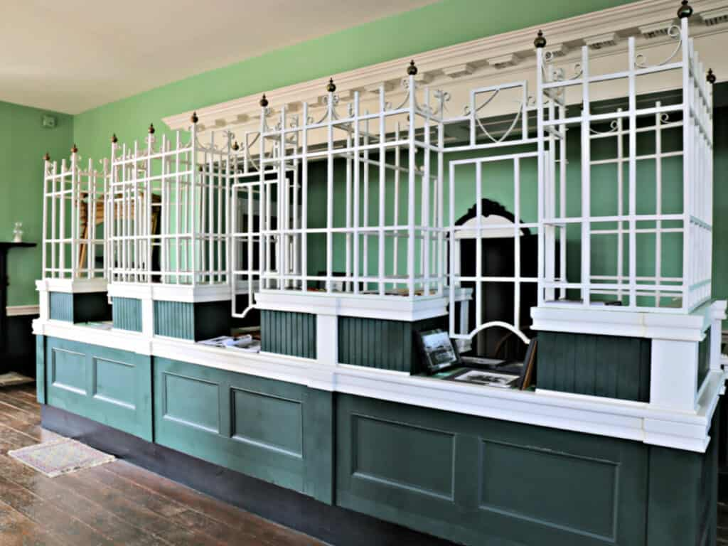old bank counter with bars