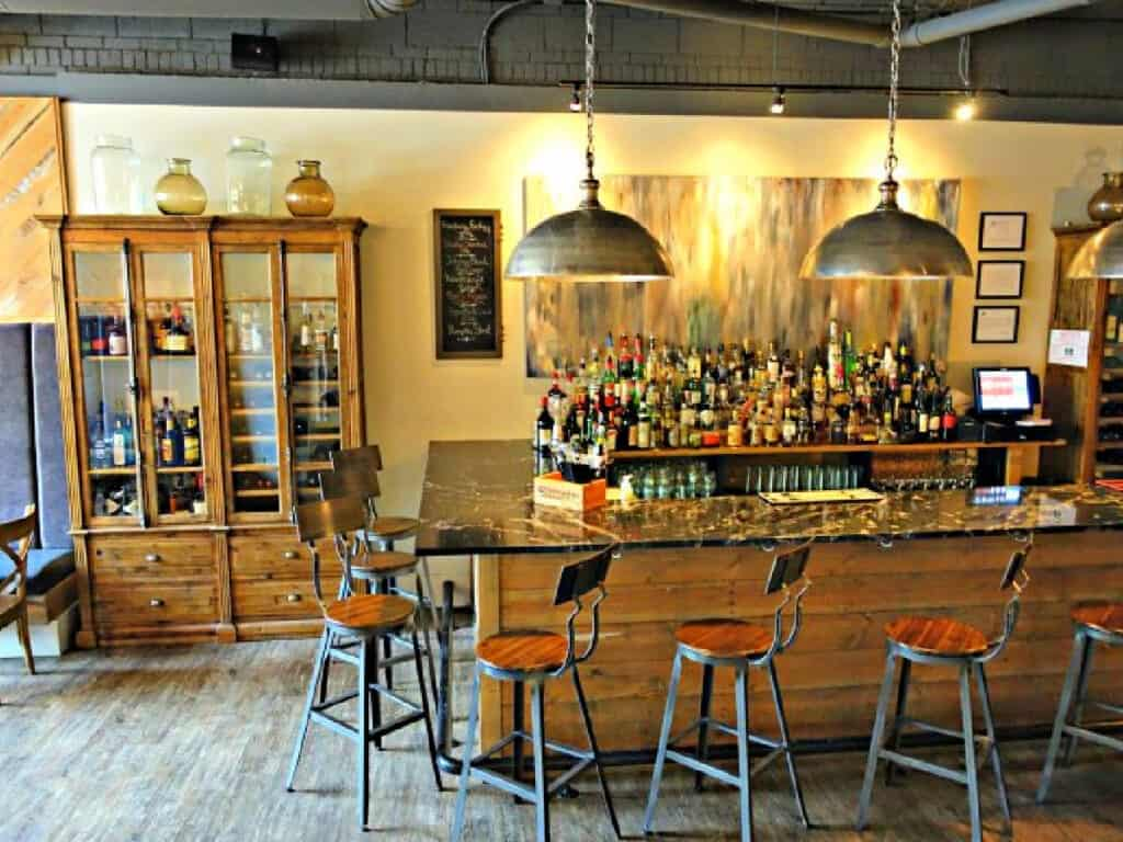 bar with bottles of liquor