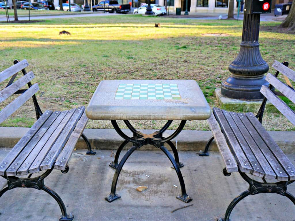 checkers table and benches