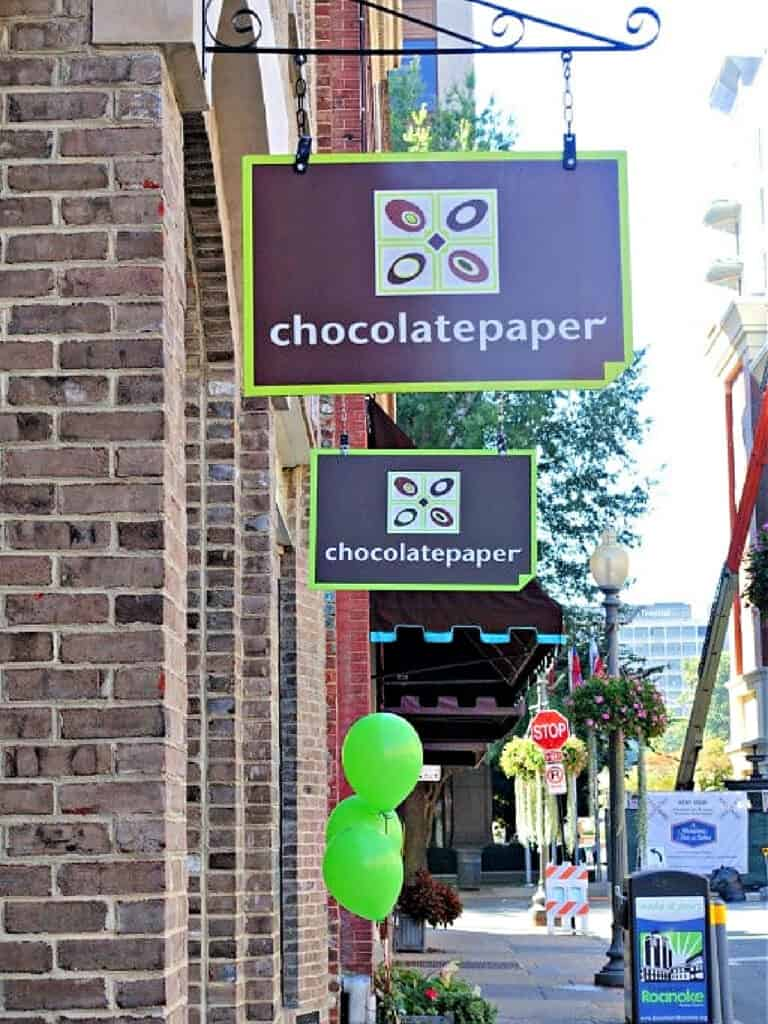 Chocolate Paper store sign
