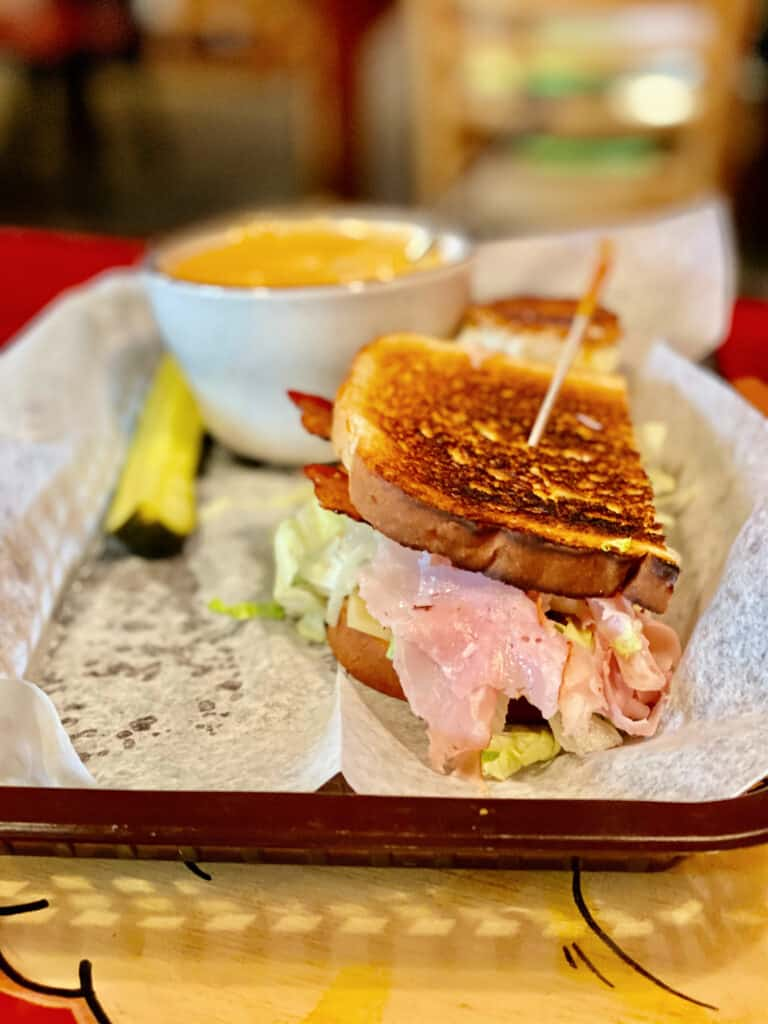 Club sandwich and cheese soup