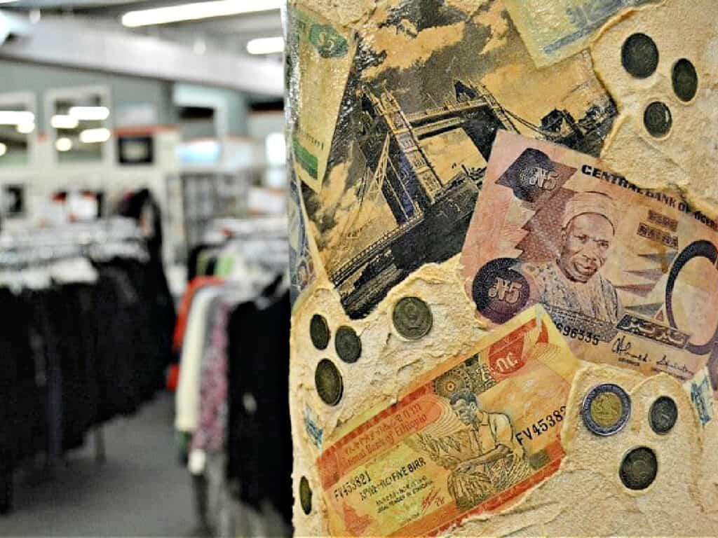column with money