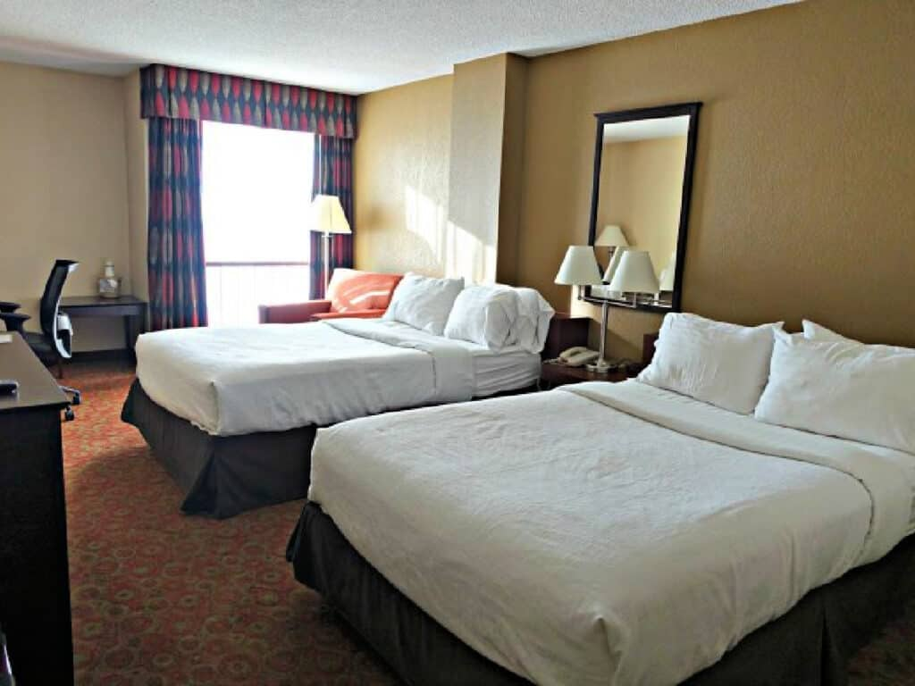 double beds in hotel room