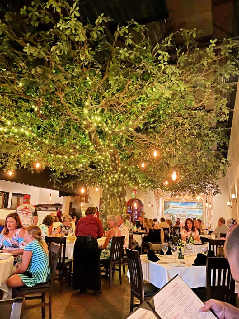 Tree with lights inside restaurant