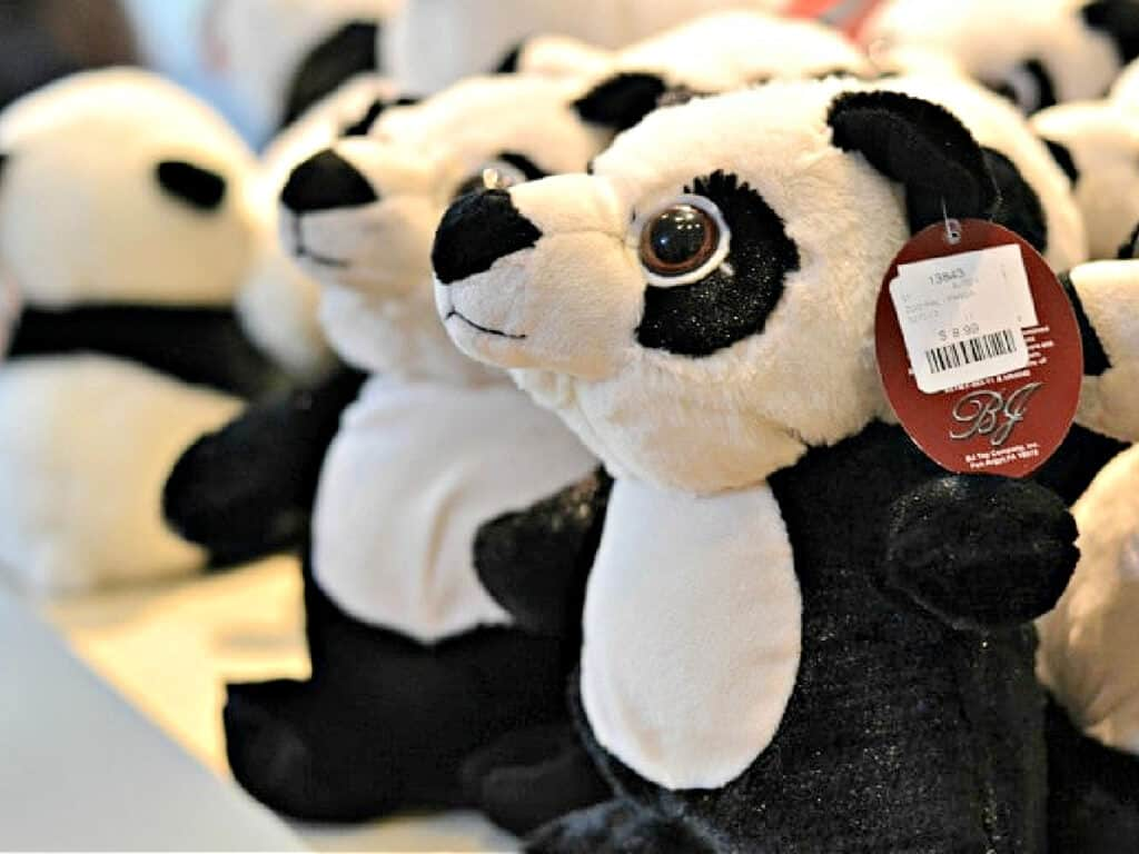 stuffed pandas in gift shop