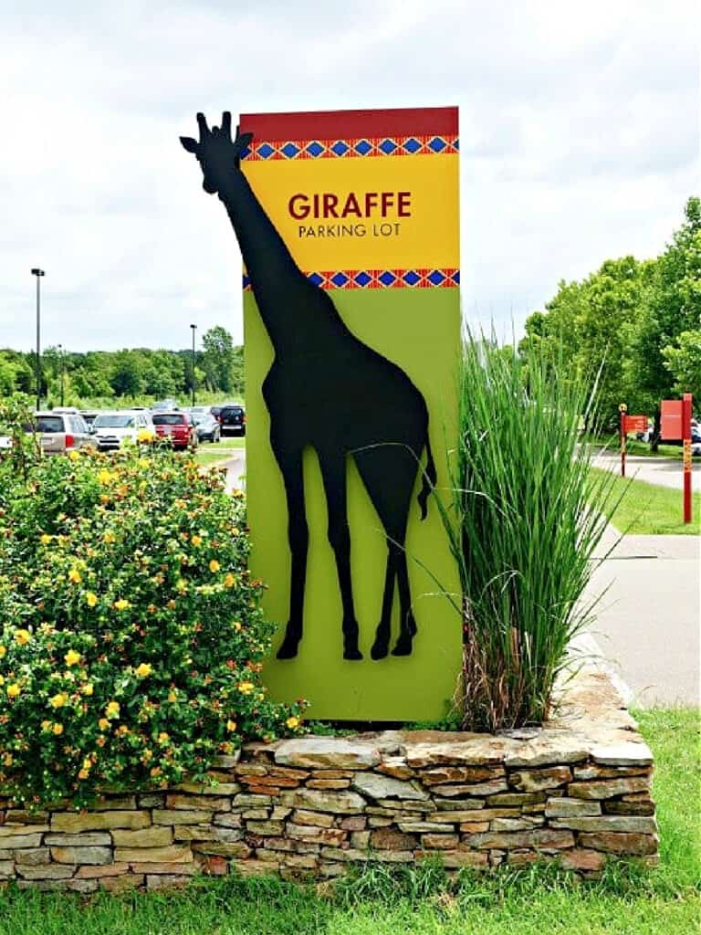 Giraffe Parking Lot sign