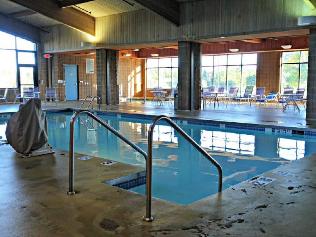 indoor pool and seating area
