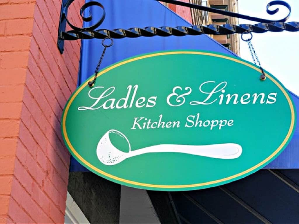 Ladles and Linens sign