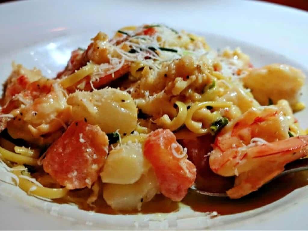 plate of seafood linguine