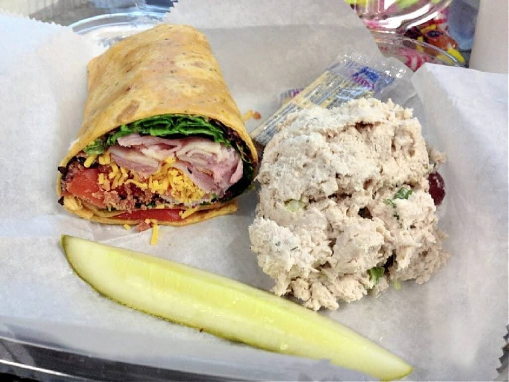 chicken wrap and chicken salad with pickle