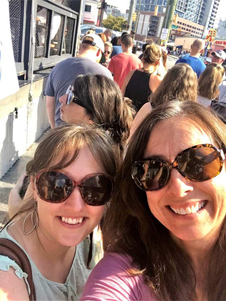 Lynda and Jennifer waiting in line