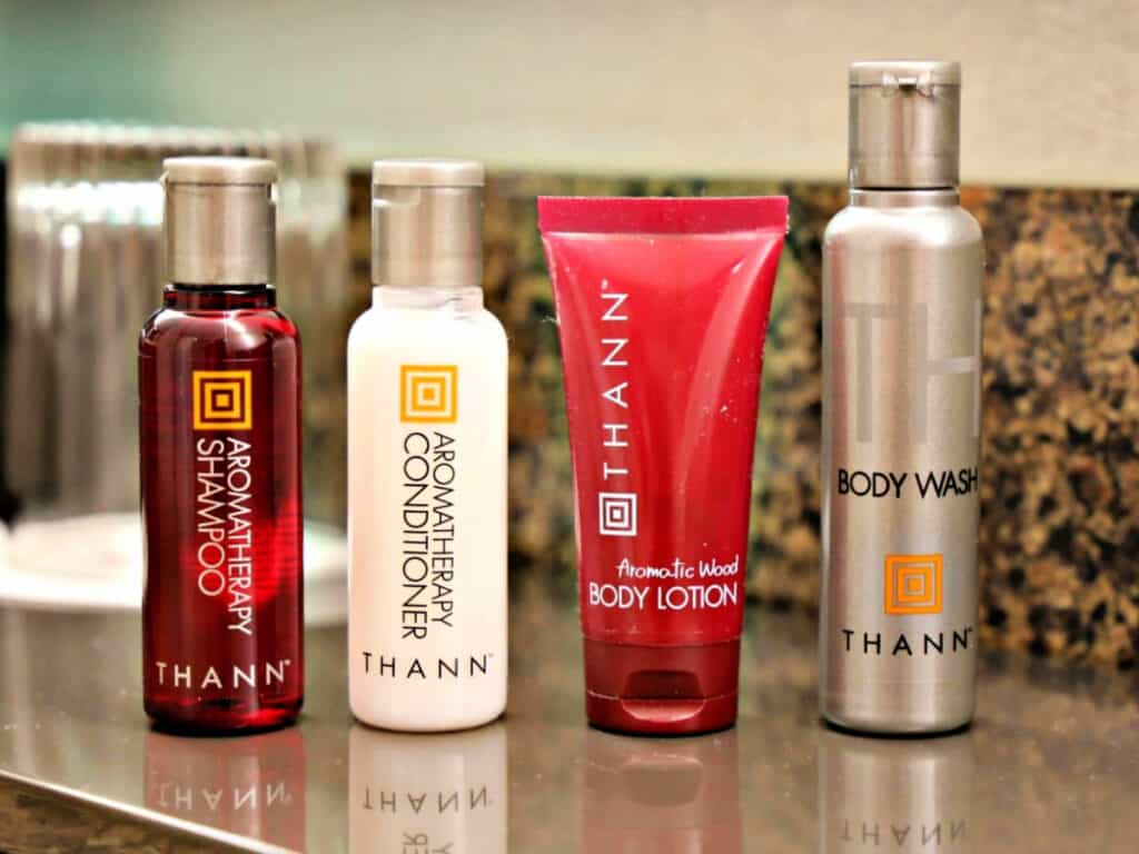 Thann bath products on counter