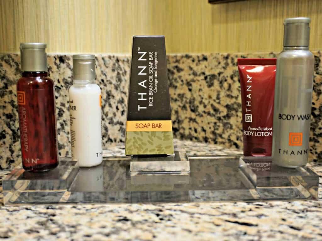 bath products on a sink