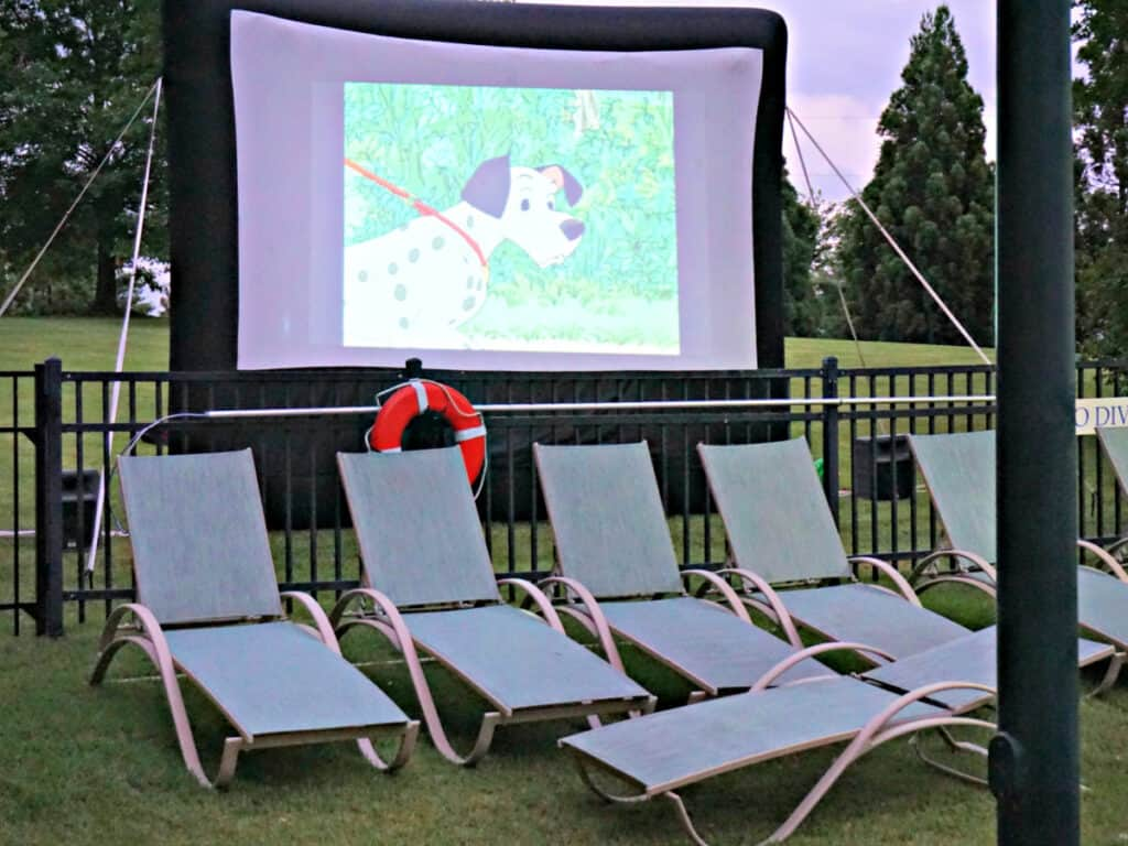 lounge chairs and movie screen