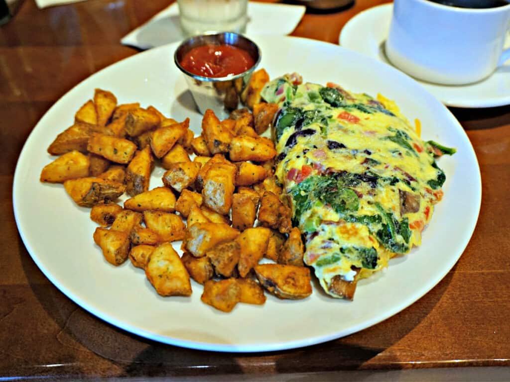 omelette and potatoes on a plate