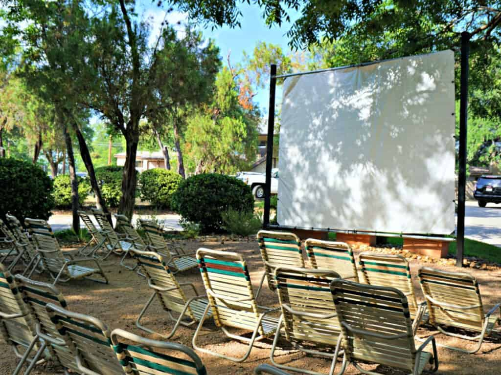 lounge chairs and large screen