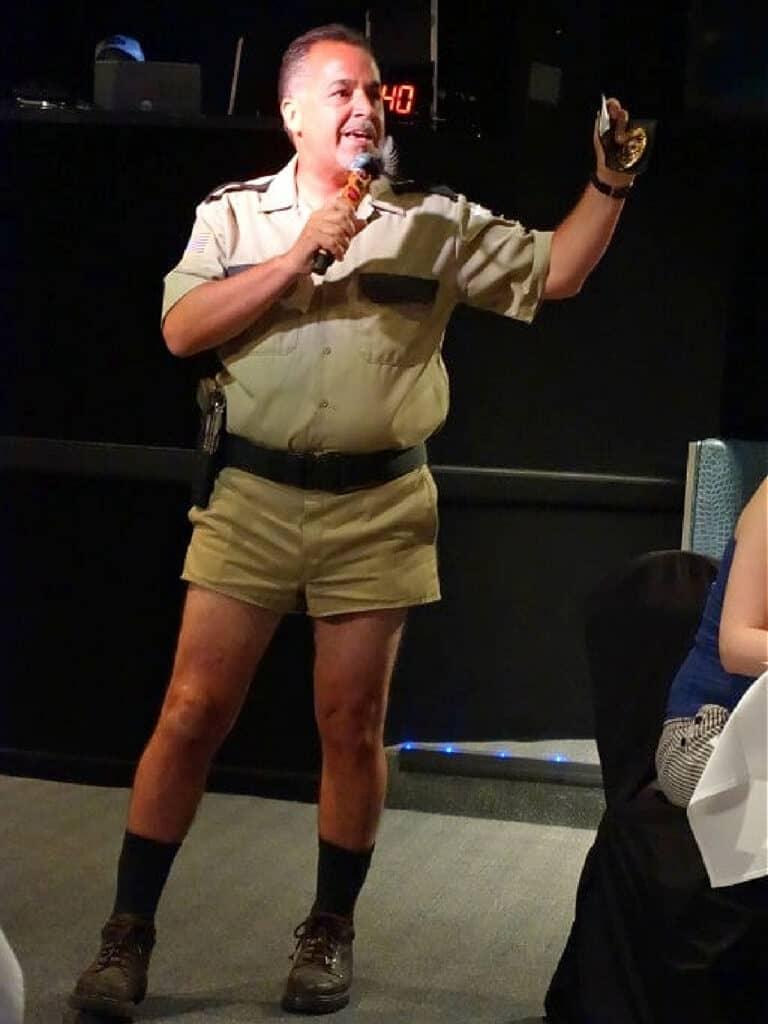 policeman in shorts