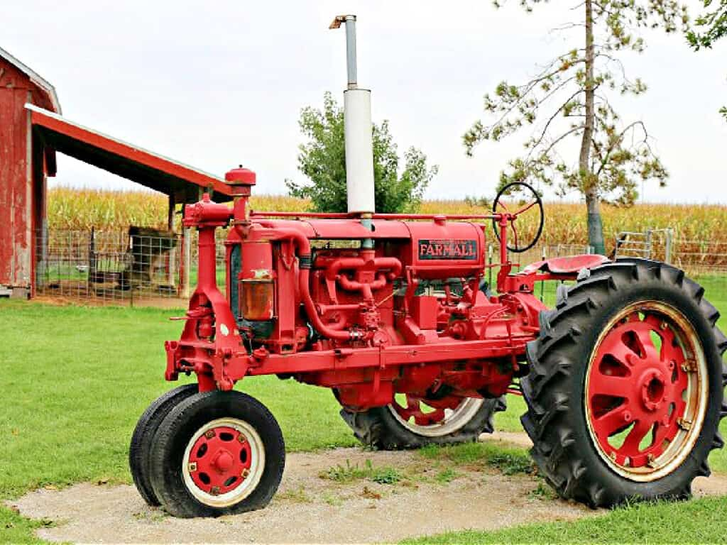 red tractor on a farm