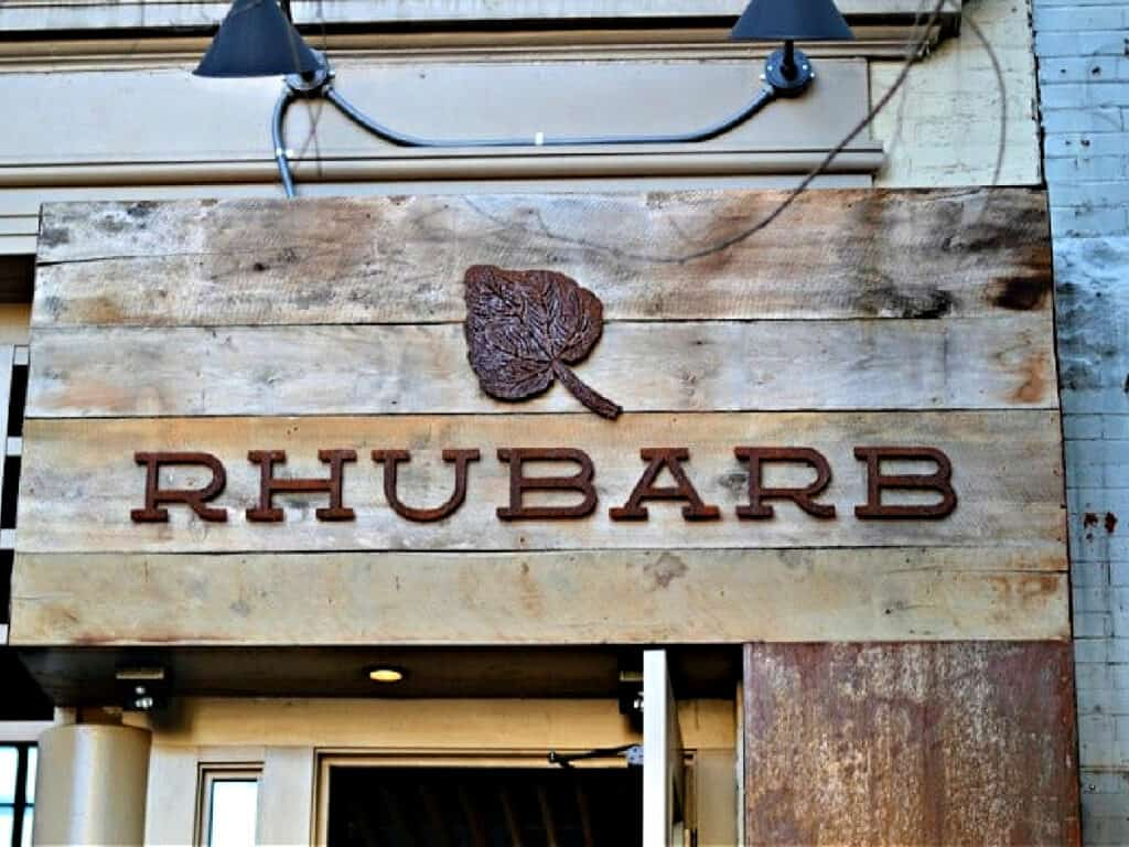 Rhubarb restaurant sign