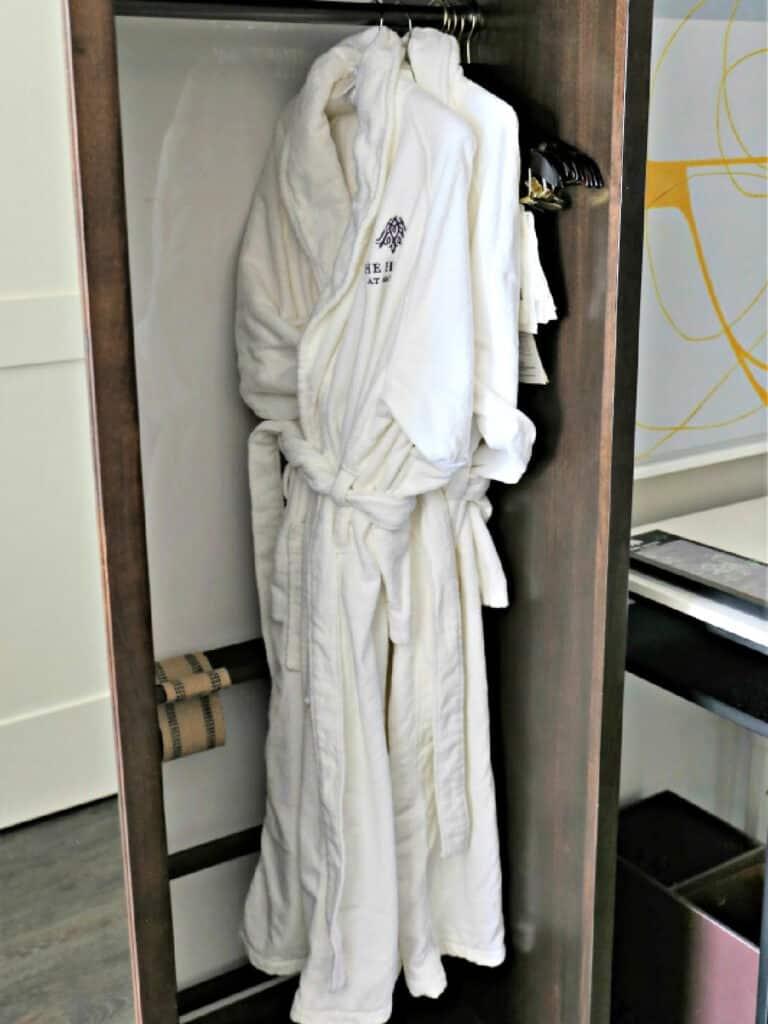 bath robes in closet