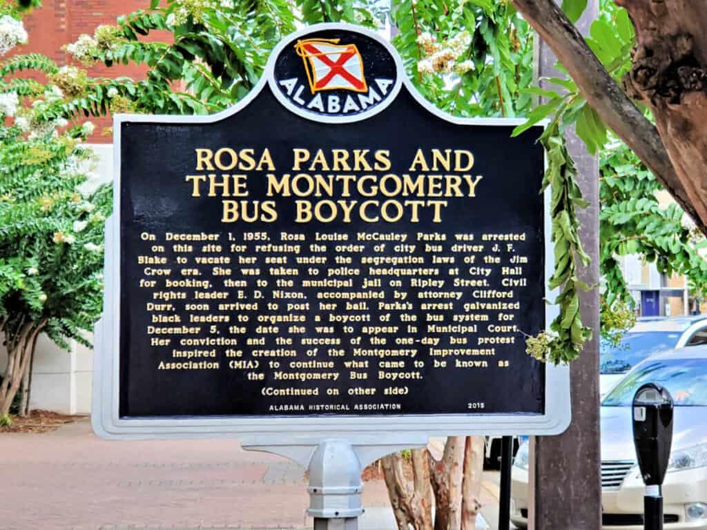 Rosa Parks Montgomery Boycott placard