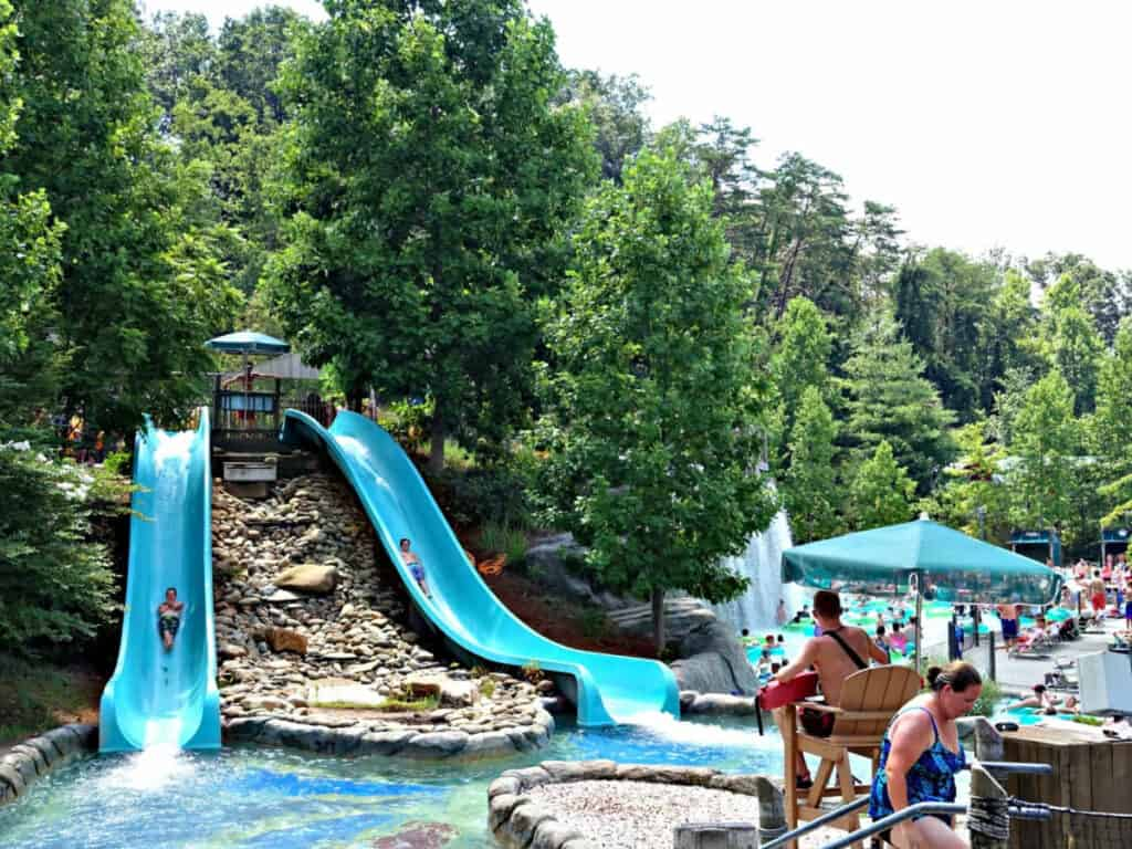 two small water slides