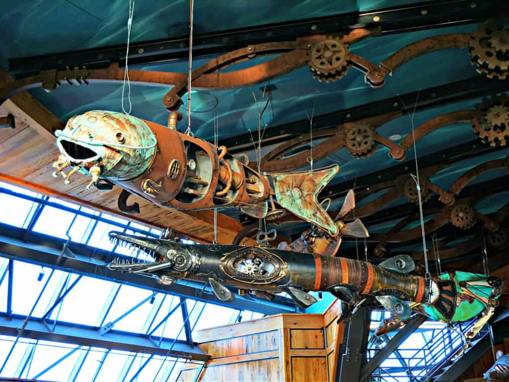 steampunk fish hanging from ceiling