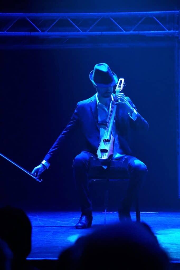 man playing stringed instrument