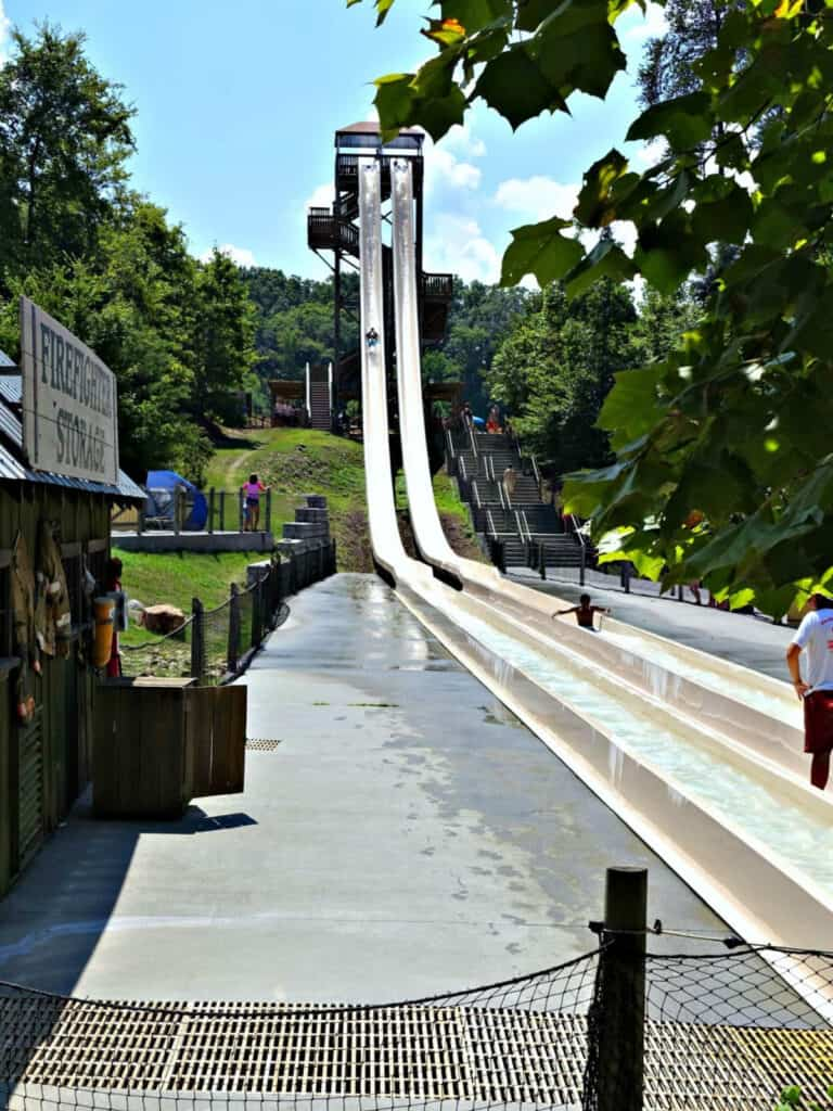 two water slides