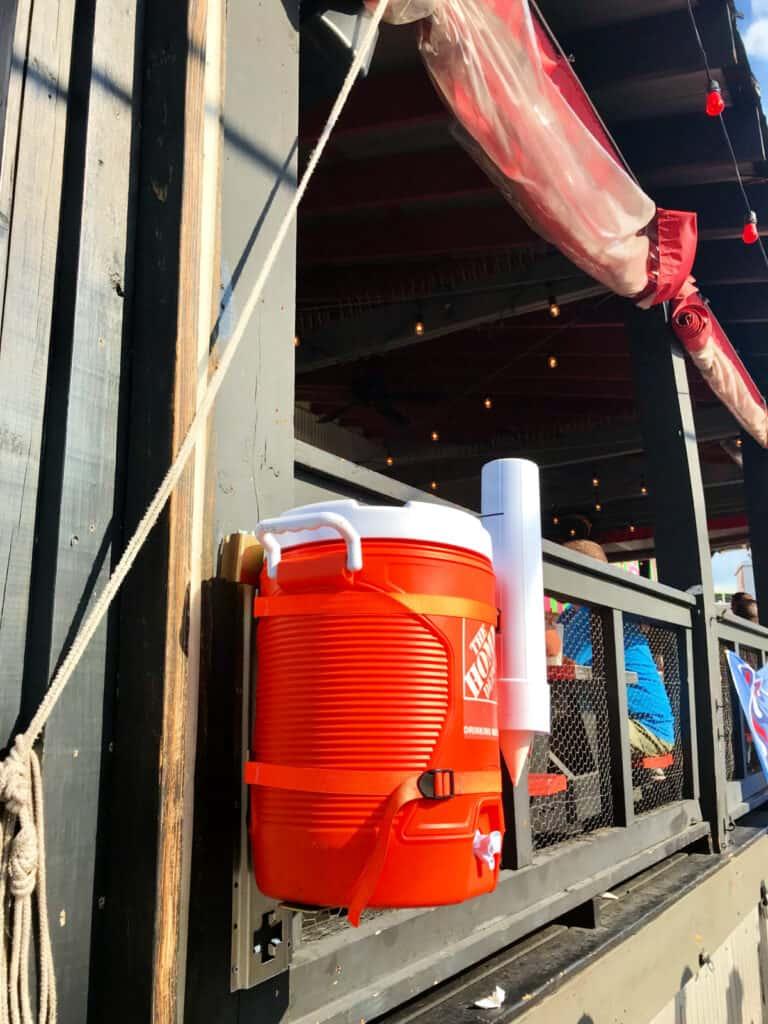 water cooler outside restaurant