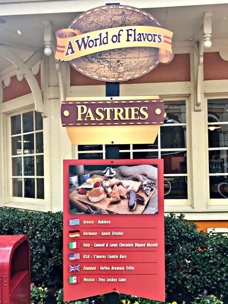 A World of Flavors sign