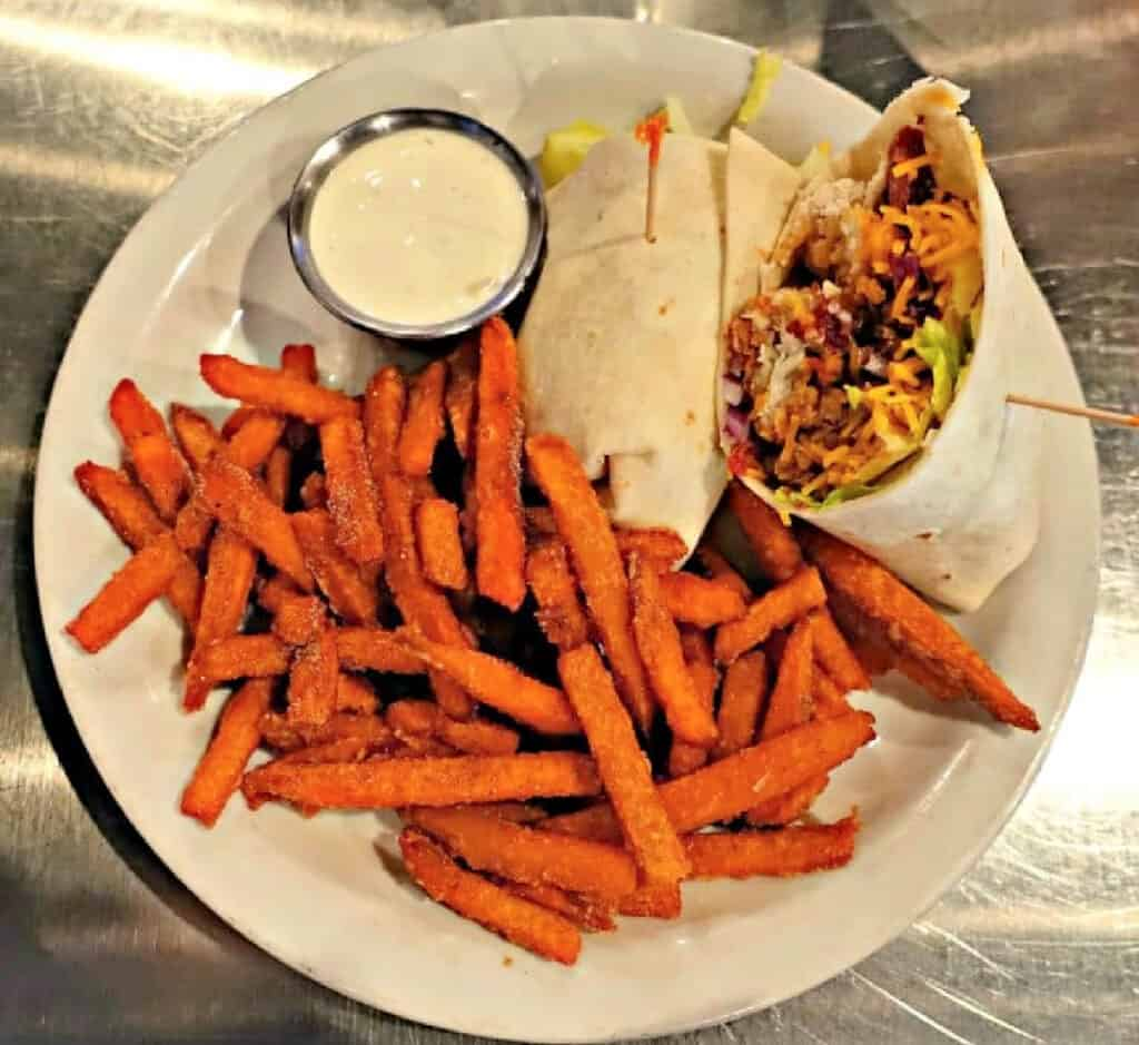 chicken wrap and sweet potato fries