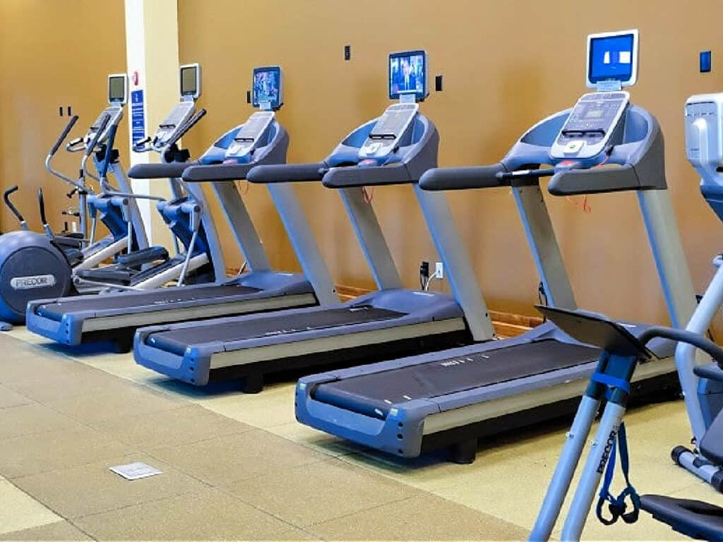 hotel fitness center with treadmills