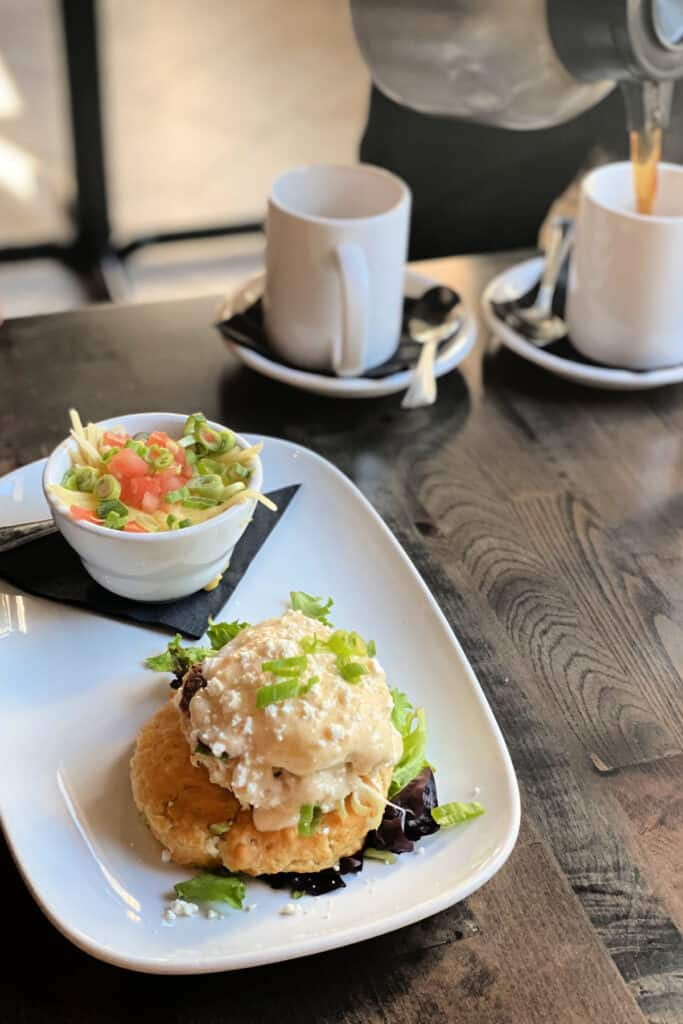 crab cake with coffee
