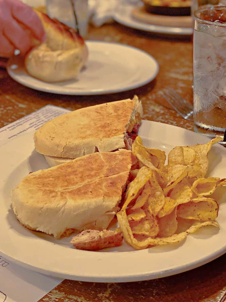 The Usual sandwich with potato chips