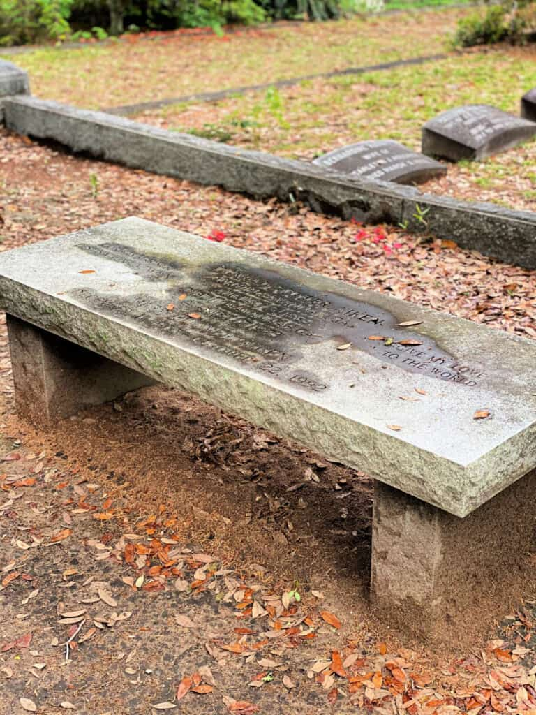 Conrad Aiken bench at cemetery