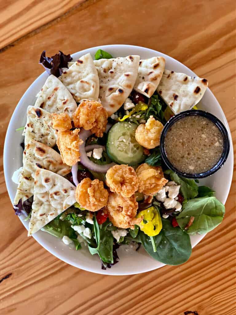 Greek salad with fried shrimp