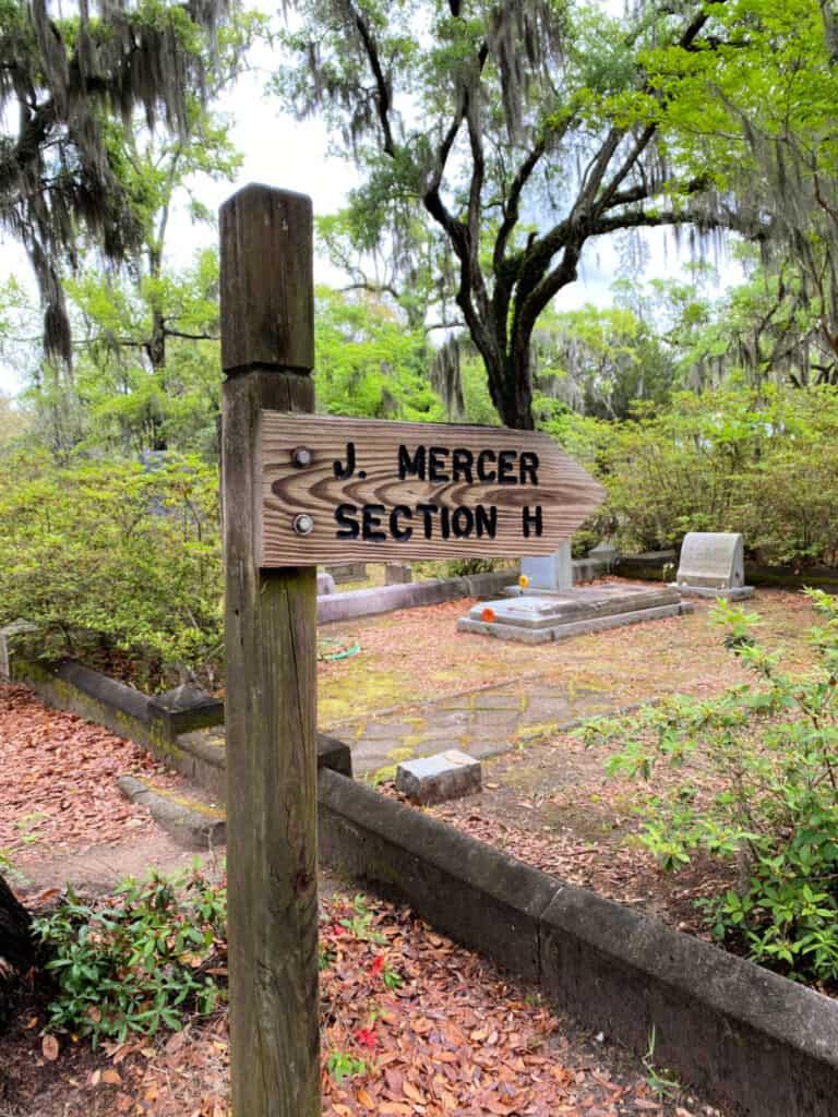 J Mercer section at cemetery