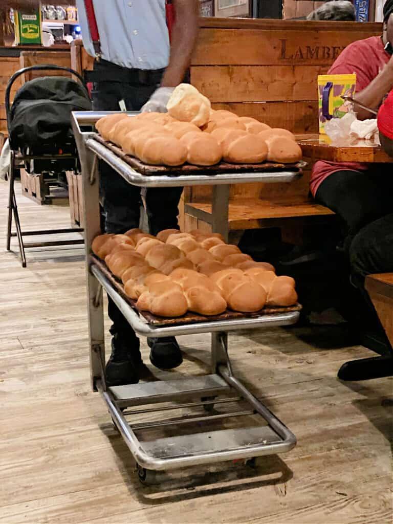trays of Lambert's dinner rolls