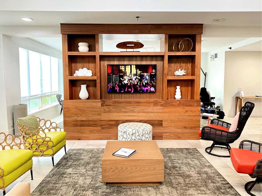 The lounge area inside Hilton Garden Inn.