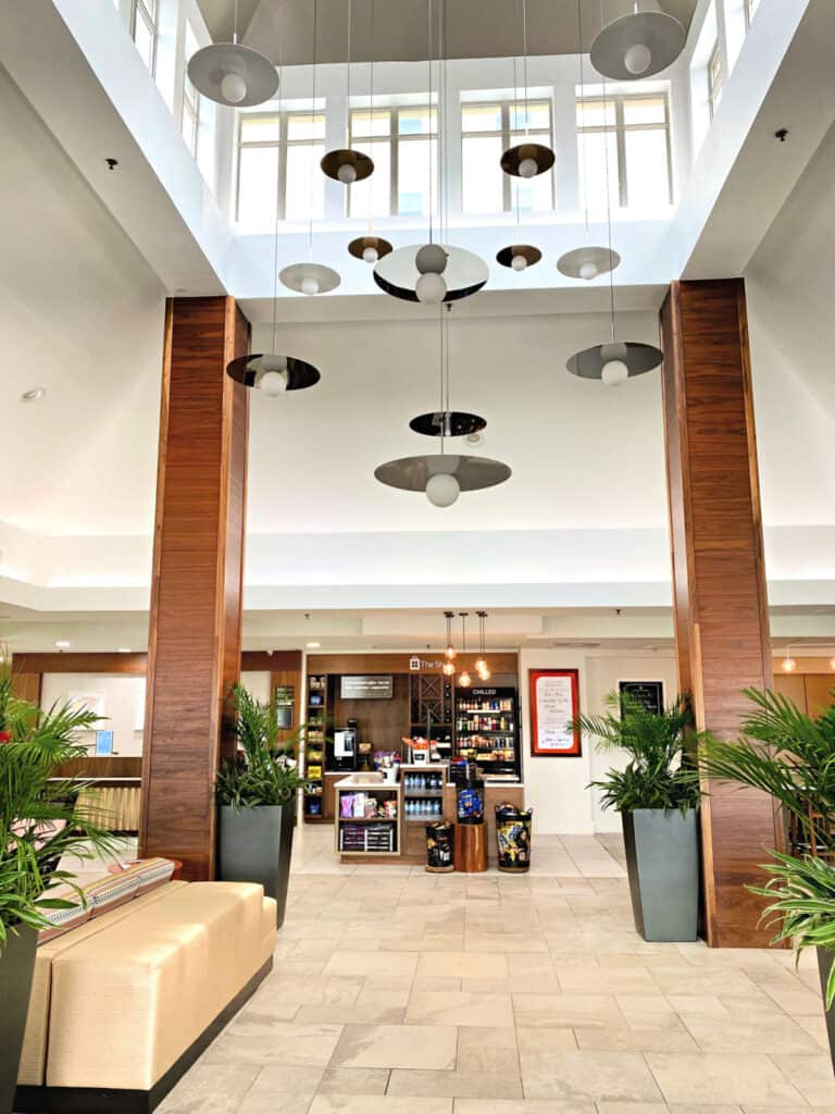 Tall lobby inside Hilton Garden Inn in Orange Beach.