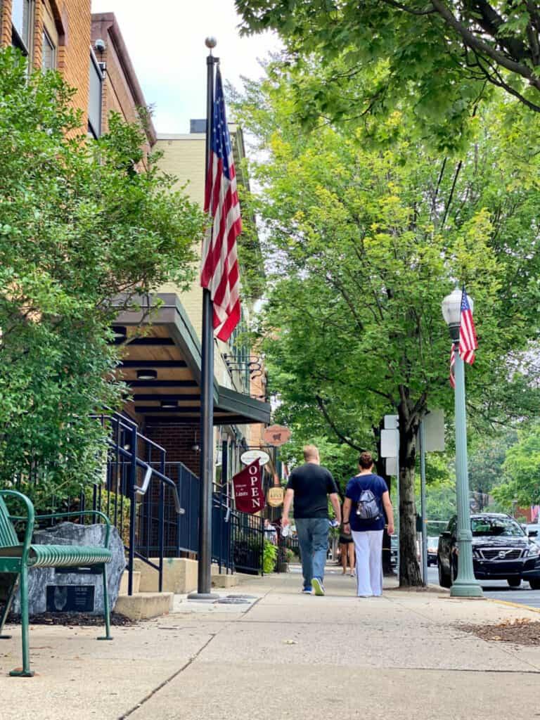 American flag erected by a sidewalk.
