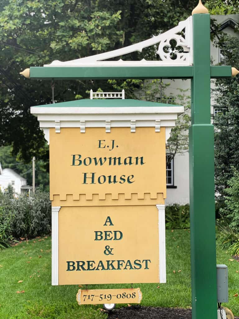 E.J. Bowman House bed and breakfast sign.