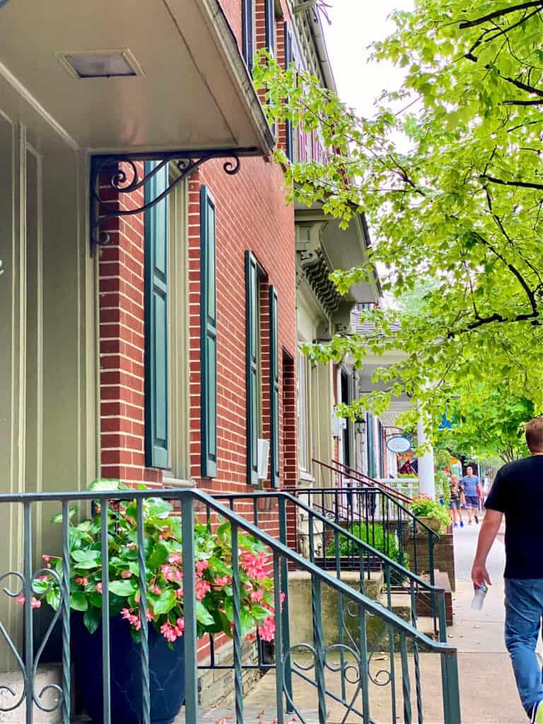 Sidewalk by shops in Pennsylvania.