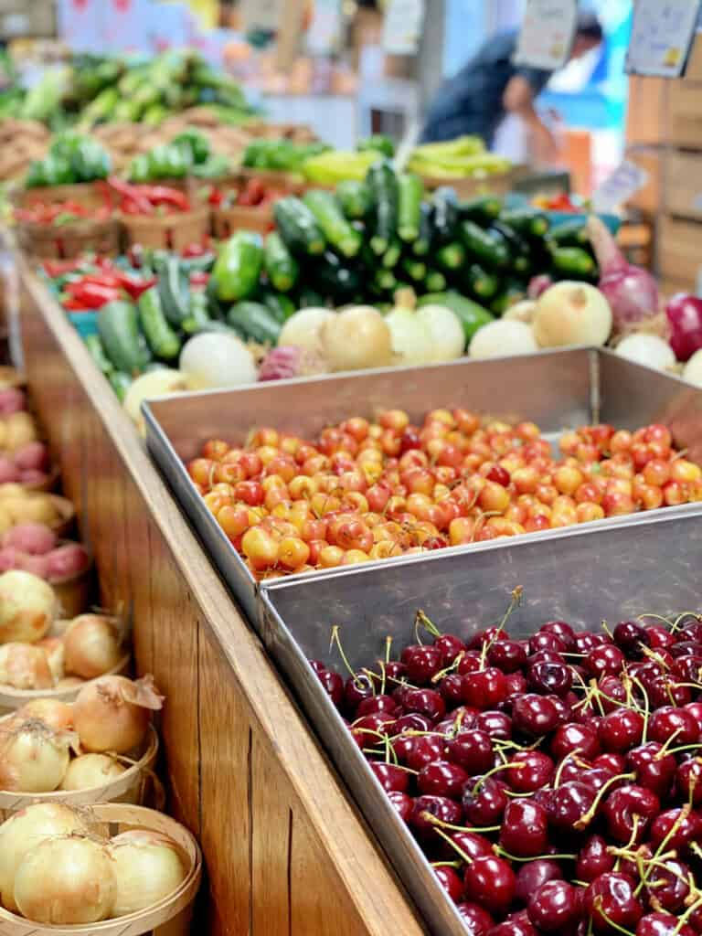 Fresh fruits and vegetables for sale.